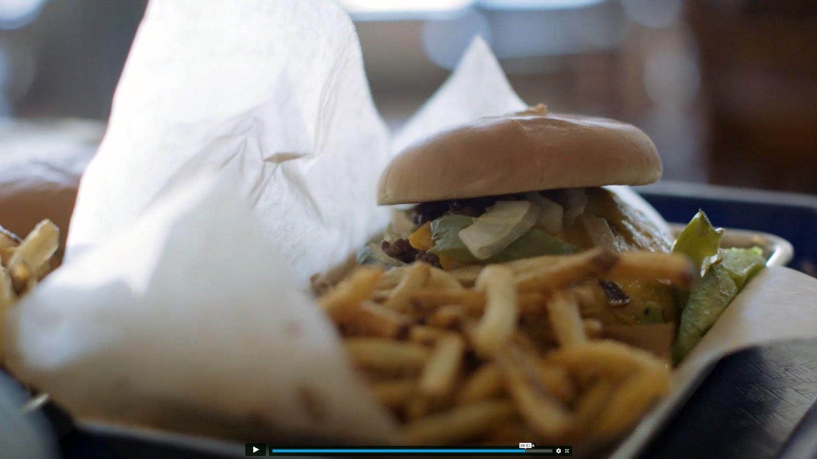 close up of burger and fries