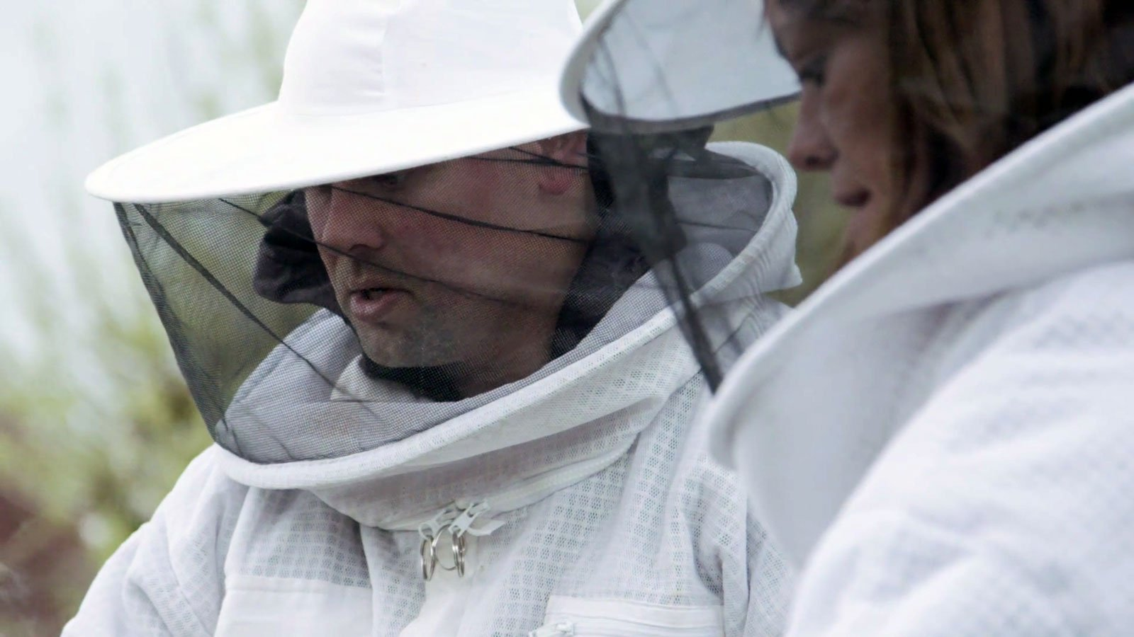 alan turanski wearing bee equipment