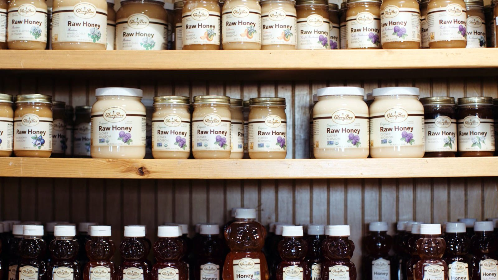 glorybee products on shelves